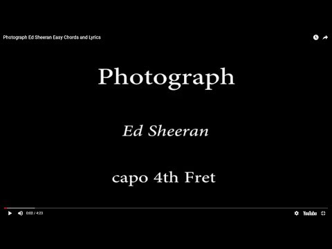 Photograph - Ed Sheeran Easy Chords andLyrics (4th fret)