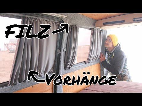 Filz Und Neue Baimex Vorhange Im Vw Bus Camper Ausbau