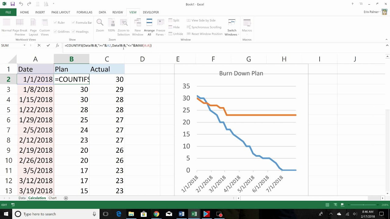 Burn Down Chart Excel 2013 Youtube
