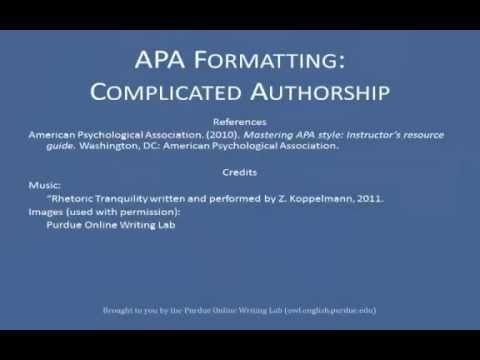 apa references list complex authors youtube