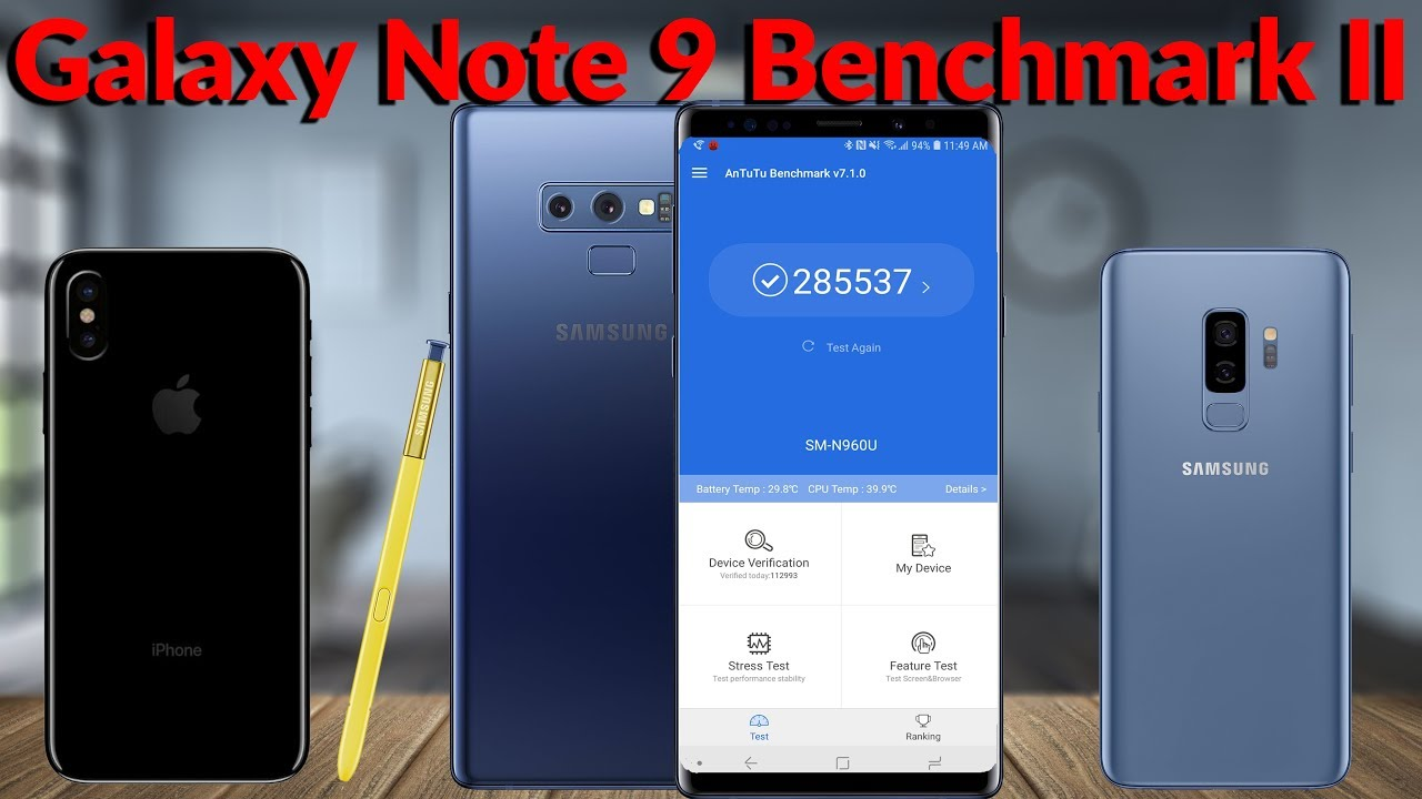 Samsung Galaxy Note 9 8GB RAM 512GB Benchmark Test & Comparison YouTube  Tech Guy