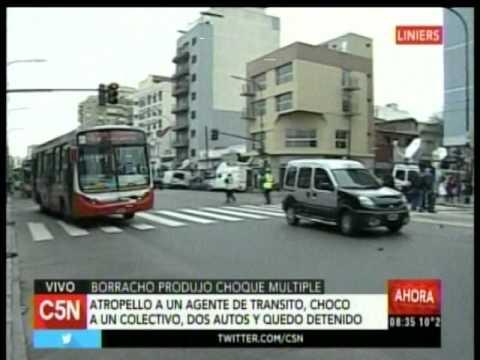 C5N - Transito: Borracho produjo choque multiple en Liniers (Parte 3)