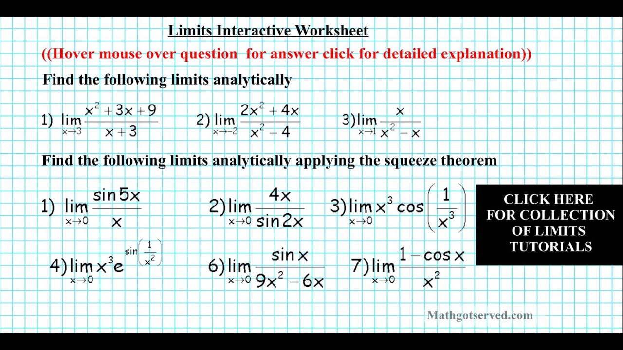 Limits practice worksheet doc pdf analytically squeeze theorem AP ...
