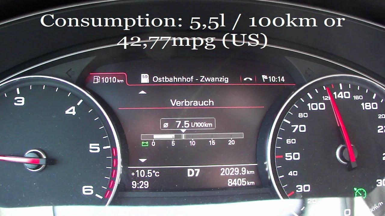 2012 Audi A6 3 0 Tdi Quattro Fuel Consumption Youtube