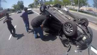 Texting Driver Crashes and Flips Car!!