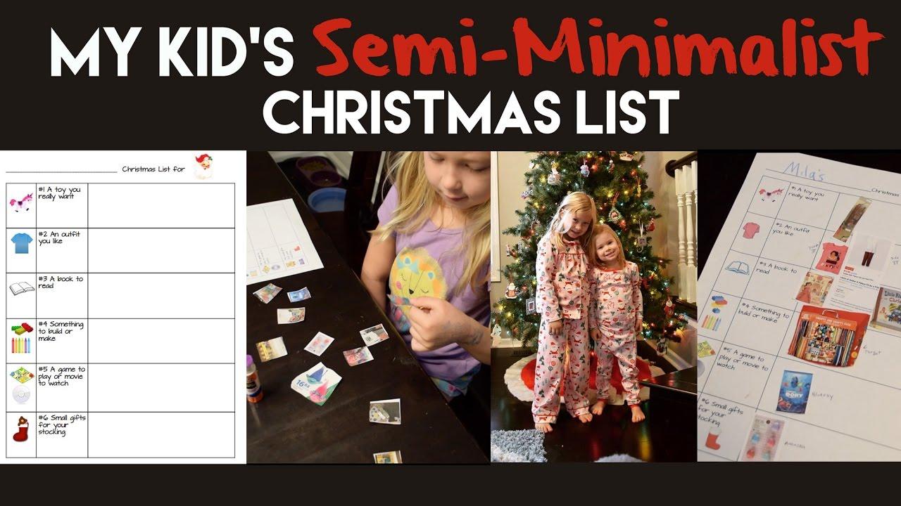 how to help kids make a semi minimalist christmas list