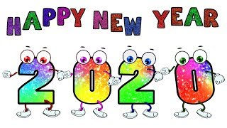 Happy New Year 2020 drawing and Glitter coloring Cute Animation Picture Coloring Pages☆