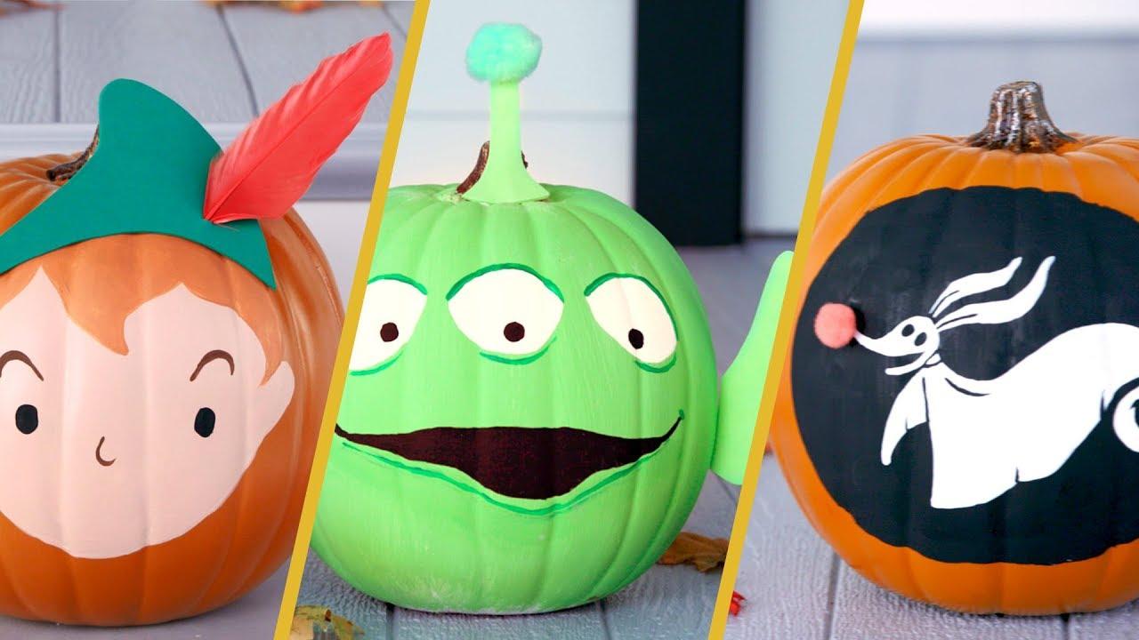 Disney Themed Painted Pumpkins Disney Diy By Disney Family Youtube