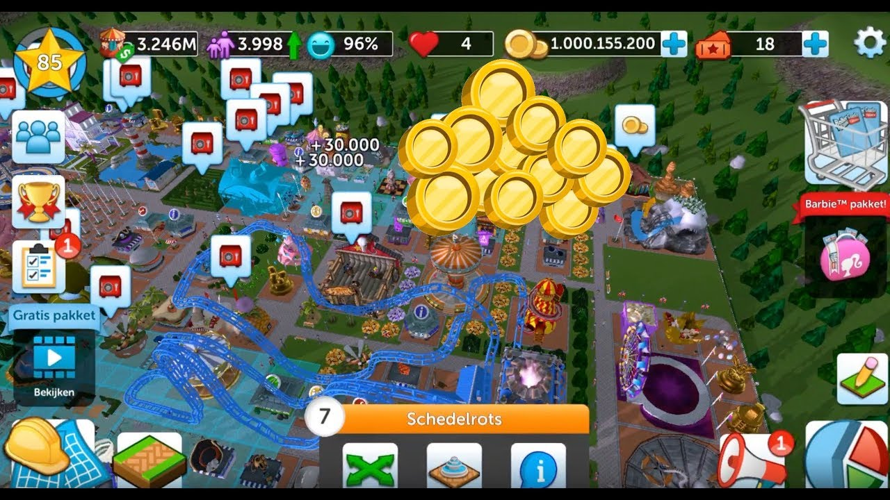 Rollercoaster Tycoon Touch | HIT THE 1 000 000 000 COINS