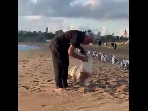 WATCH   PM Modi cleans #Mahabalipuram beach in #TamilNadu, picks up garbag