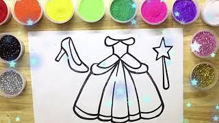 Tô Màu Tranh Cát Kim Tuyến: Váy Công Chúa - Búp Bê - Color Sand Painting Toys: Dress . #188.