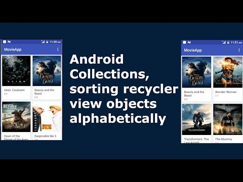 Android Collections, sorting recyclerview objects alphabetically