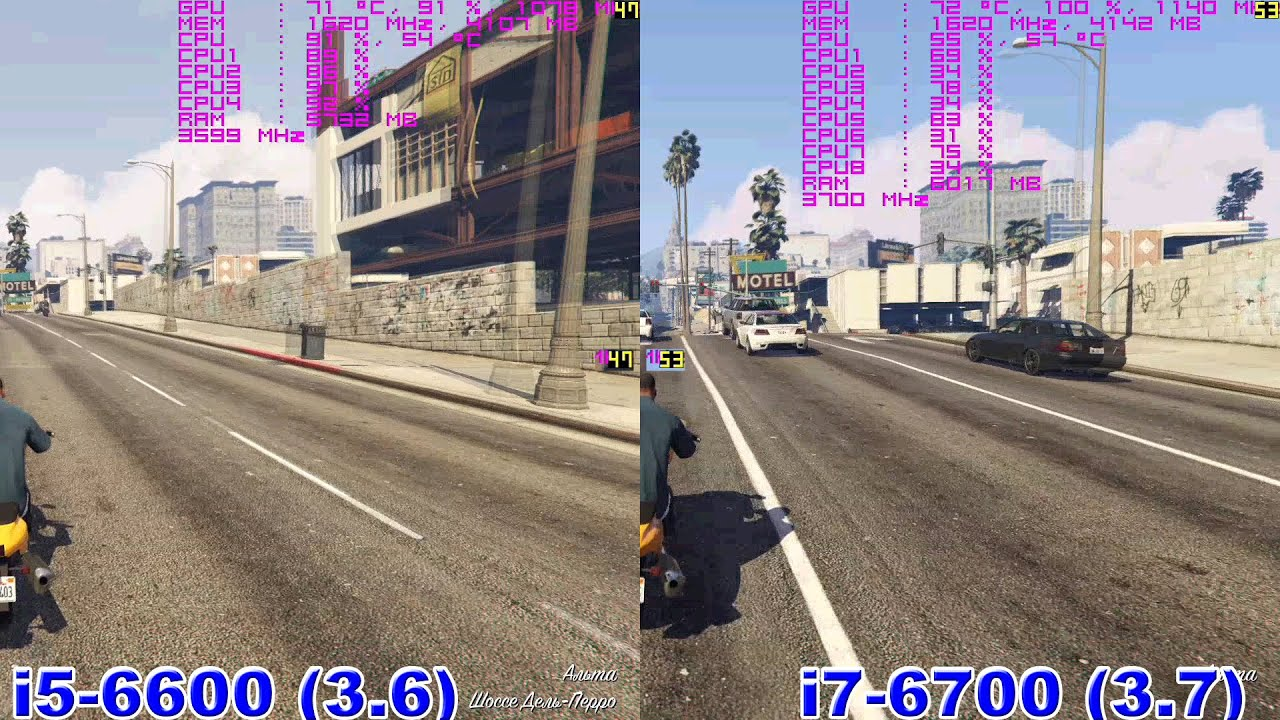 Разница между i5-6400/6500/6600/6600K vs i7 6700K/6700 in GTA 5 с .