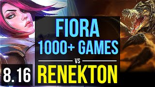 FIORA vs RENEKTON (TOP) ~ 1000+ games, KDA 13/3/13, Dominating ~ Korea Master ~ Patch 8.16
