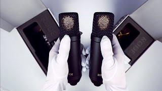 asmr unboxing microphones in white gloves