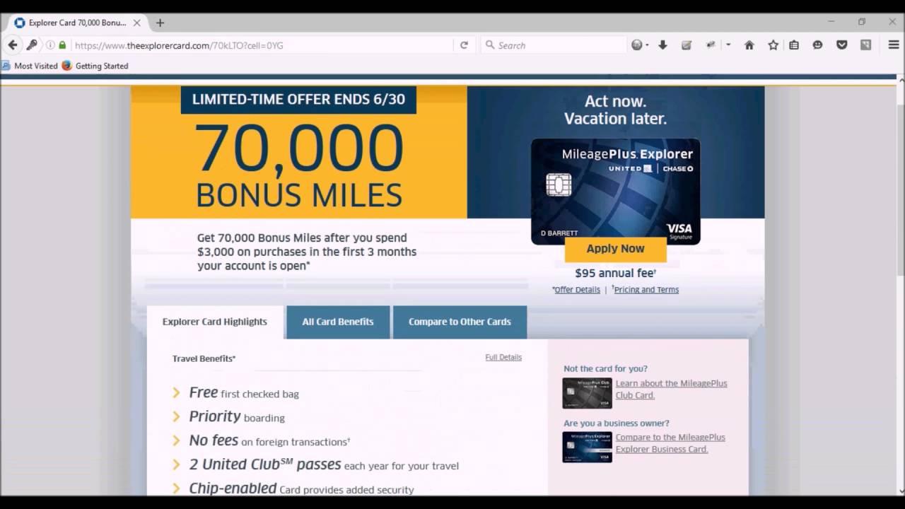 United Mileage Plus >> United Mileage Plus 70k Bonus Miles Youtube
