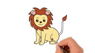 Learn How to draw a Lion - How to draw funny cartoons