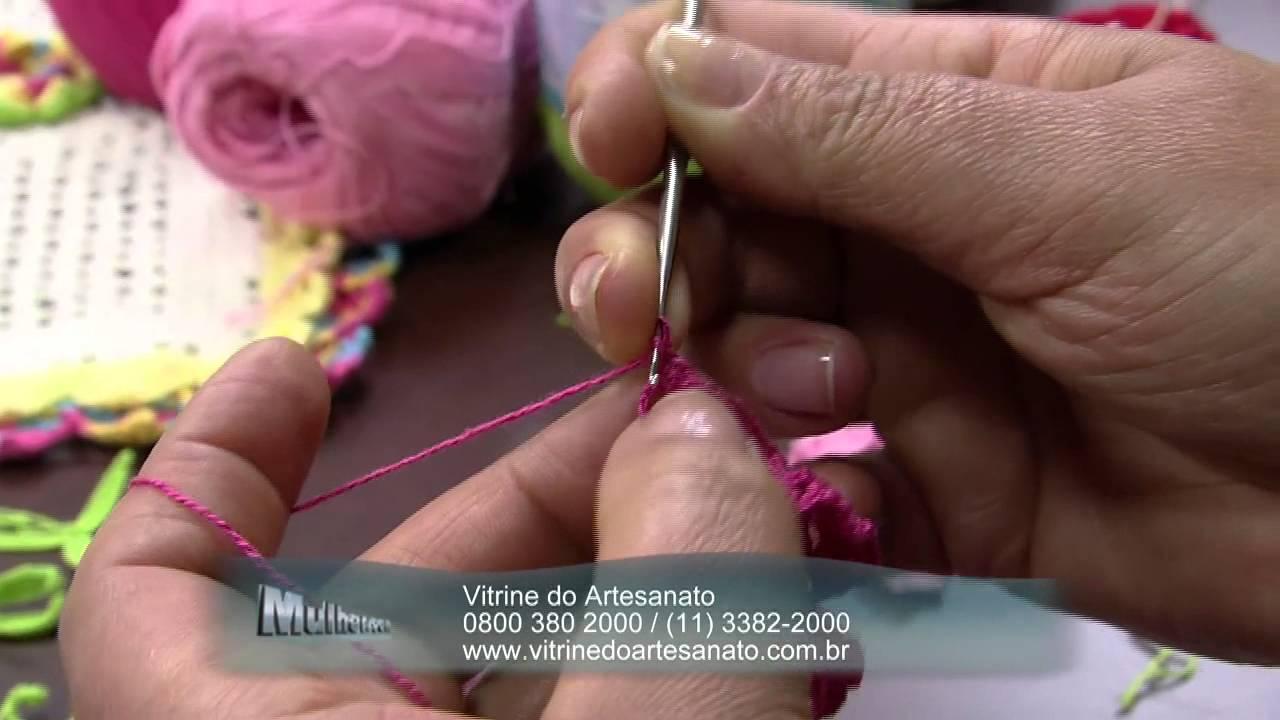 Mulher.com 03/07/2014 - Jogo Americano Croche Vitrine por Maria Jose - Parte 1