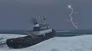 GTA 5 Online - TUG BOAT IN HUGE STORM AT SEA [ANGRY SEA, MONSTER WAVES, BIG OCEAN]
