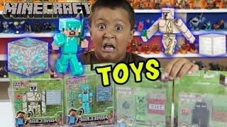 Minecraft Series 2 Toys! Iron Golem & Diamond Steve Unboxing & Fun w/ Mike (Creeper & Enderman)