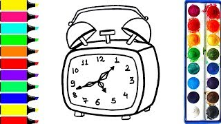 Alarm Clock Coloring Pages, Learn Drawing, Art Colors For Kids