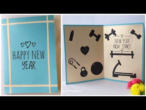 Easy New Year Motivational Card Ideas   DIY Greeting card for Gym Trainer, Friends and Family  