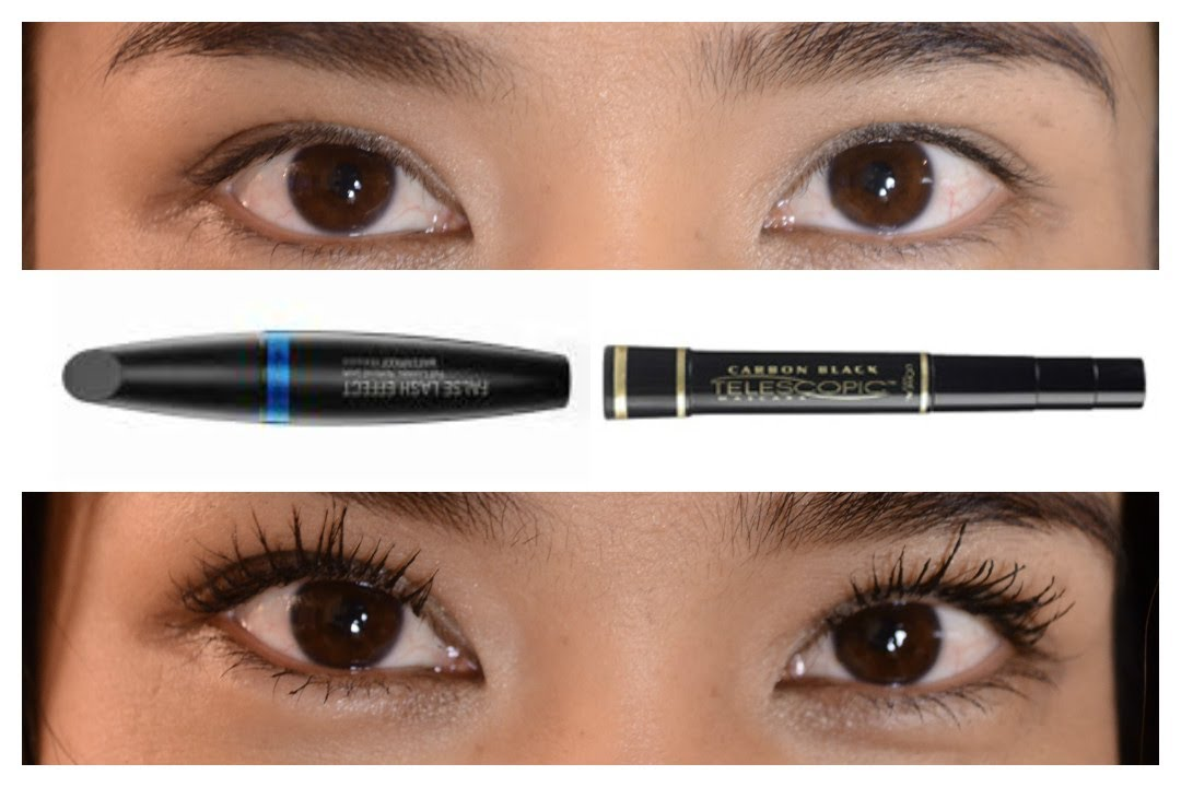 You may want to see this photo of false telescopic mascara