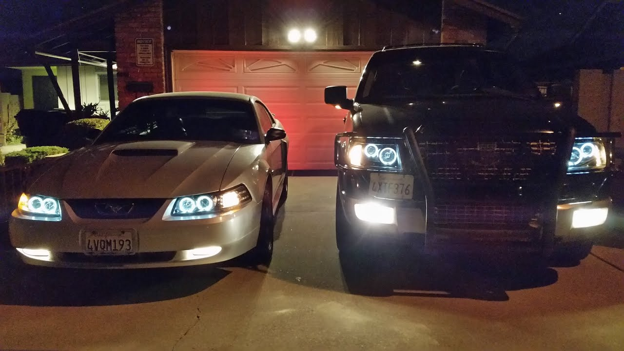 2016 1 27 spyder projector dual halo headlights on 03 expedition 02 mustang gt