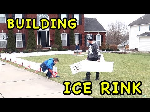 Kids HocKey Building Ice Rink in 14 Minutes!!!!