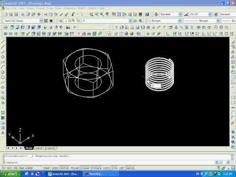 AutoCAD 2007 3D - How to Draw a Nut - كيف ترسم صامولة ...