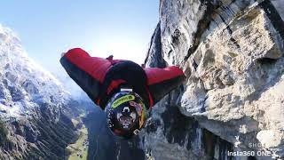 Wingsuit Basejump Lauterbrunnen through a waterfall