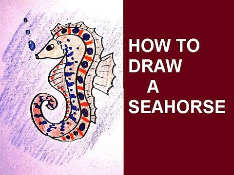DRAWING: how to draw a seahorse, Easy Art Lessons for kids