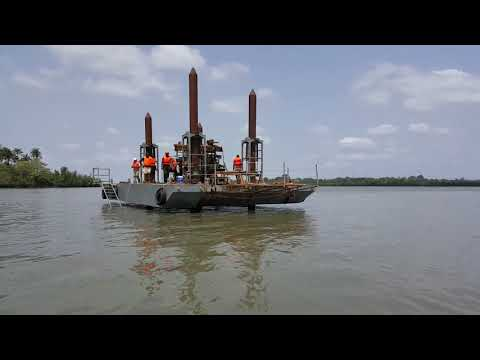 Jack-Up Barge in Africa construction of a port in Guinea