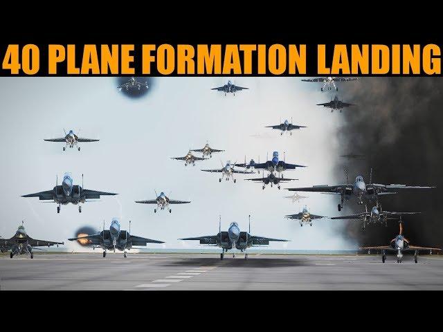 *WORLD FIRST* 40+ Aircraft Formation Flight & Landing   DCS WORLD