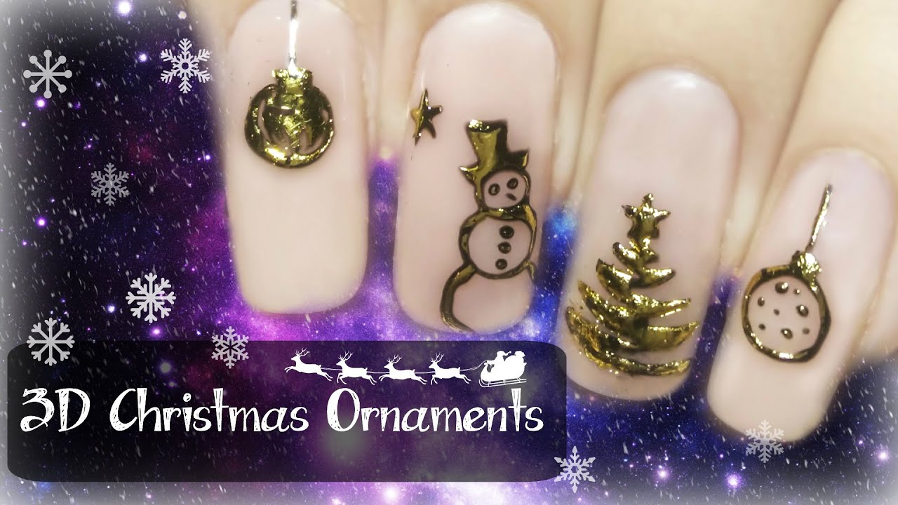 Christmas 3d Nail Art With Ring: Easy 3D Christmas Ornaments ⎮ Transfer Gel & Foil ⎮ Nail