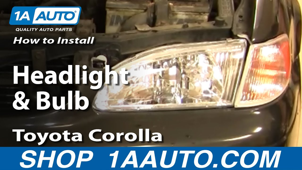 how to install replace headlight and bulb toyota corolla 98 02 1aauto com youtube [ 1920 x 1080 Pixel ]