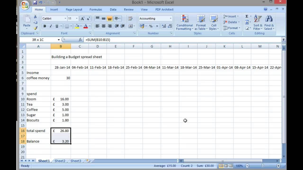 create a simple budget sheet using excel
