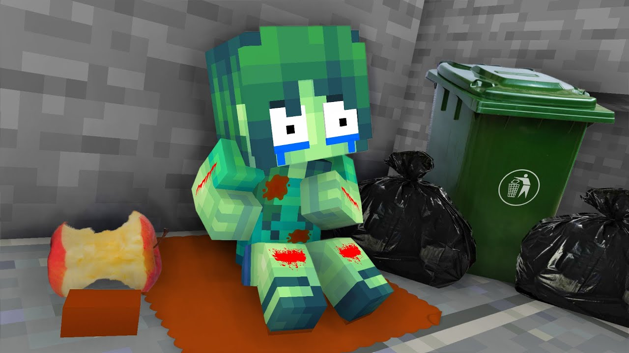 Monster School : BABY ZOMBIE GIRL BECAME HOMELESS - Minecraft Animation