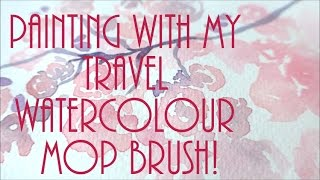 Painting blossom with my Rosemary & Co travel watercolour mop brush