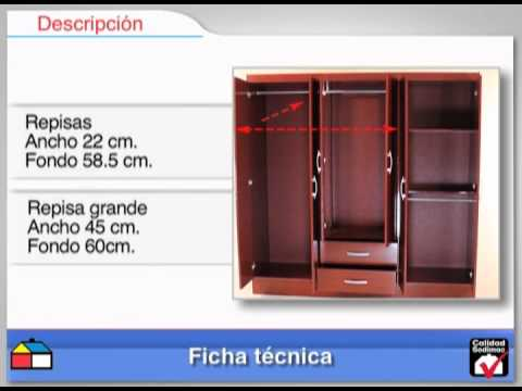 Closet 6 puertas 2 cajones 181x47x185 caoba youtube for Puertas de madera sodimac
