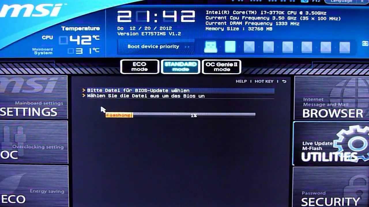 UEFI BIOS von MSI Z77A-GD80 (MS-7757 VER: 1 0) mit M-Flash aktualisieren
