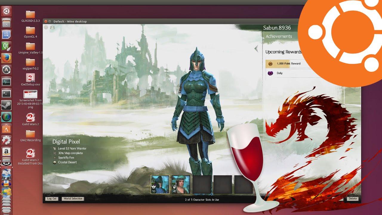 Guild Wars 2 running on Ubuntu 15.04 via PlayOnLinux - YouTube