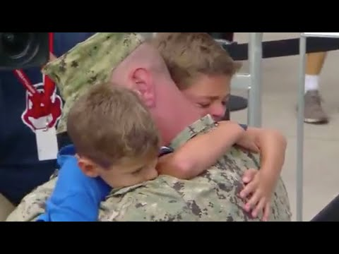 Coast Guard dad surprises sons at Cleveland Indians game
