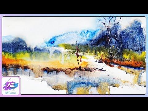 Transparent Watercolor Landscape Painting   How to paint watercolor landscape   Art Explain