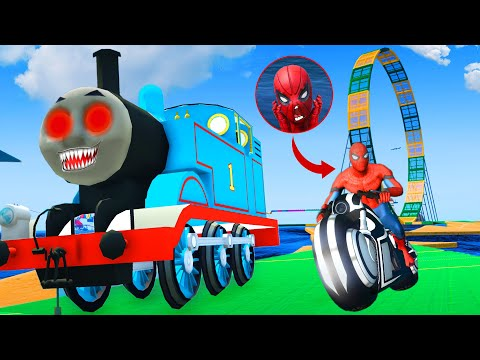 Thomas Train Challenge - Spider Man w/ Iron Man All Superheroes Motorcycle Race Competition |