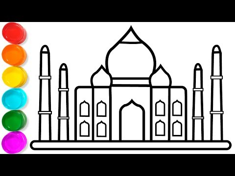Coloring Taj Mahal - Taj Mahal Drawing for Children - Drawing And Coloring Pages for Kids