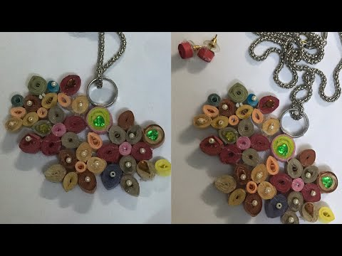 QUILLING JEWELLERY / HOW TO MAKE PAPER QUILLING JEWELLERY/ DIY NECKLACE AND EARRING/ kids art