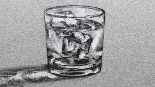 How to Draw a Glass of Water with Ice