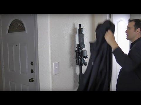 AR15 Hidden & Locked on Wall Under a Jacket ARmA15