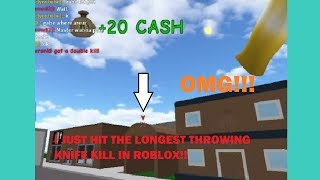 I HIT THE LONGEST THROWING KNIFE KILL IN ROBLOX!!?? | Roblox Knife Simulator